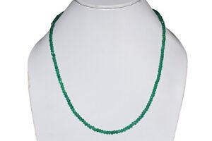4 mm Fabulous Emeral Gemstone 925 Sterling Silver Strands Beads Necklace FSJ-704