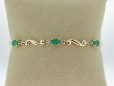 3.12TCW Natural Green Emeralds Solid 14K Two-Tone Gold Tennis Bracelet 7""