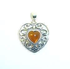 Sterling Silver and Amber Fancy Heart Pendant                          B00091