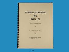 Powermatic No. 10 Hollow Chisel Mortiser Operating & Parts List Manual  *261