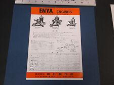 "VINTAGE ENYA MODEL AIRPLANE ENGINE BROCHURE 10  08  06 049  7""W  X 10""T *G-COND*"