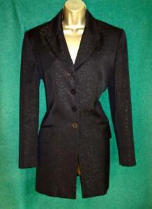 JAEGER UK10 12 Black Gold Sparkly Wool Mix Longline Evening Tuxedo Jacket Blazer