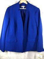 Kasper 16W NW Plus Size Stretch Crepe Stand Collar Jacket Sapphire Dressy