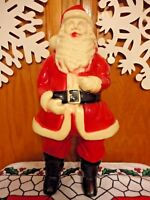 "17"" UNION PRODUCTS SANTA CLAUS LIGHT CHRISTMAS BLOW MOLD VTG 1950's HARD PLASTIC"