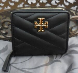 Tory Burch ~ Quilted Leather KIRA CHEVRON Bifold Wallet ~BLACK~NWT $178