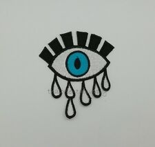 Crying Eye Patch Embroidered Sew Iron on Gipsy Tattoo Gift Motif Symbol DIY