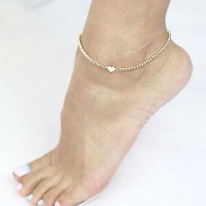 14K Solid Gold Anklet Gold Beads Anklet Heart Charm Anklet Layering Anklet