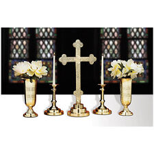 Budded Cross Brass Altar Set Includes Altar Cross, Candle Holders, Vases