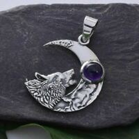 Wolf 925 Silver Amethyst Pendant Crescent Moon Gazing Sterling Wicca Witch Pagan