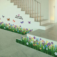 Removable Butterfly Grass Flower Wall Stickers Mural Decal DIY Vinyl Home Decor