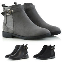 Womens Ankle Boots Elasticated Buckle Ladies Casual Flat Pull On Chelsea Booties