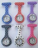 Silicone Nurse Watch Brooch Tunic Fob Watch Doctor Beauticians Polka Dots