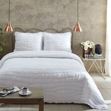 VHC Brands Reversible Cotton Bed Quilt King Queen Twin Bedspread White Solid