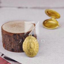 5pcs Gold Plated Oval Photo Locket Pendants 21x16mm Brass