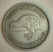 1949 New Zealand 1 Florin 2 Shilling Coin YG