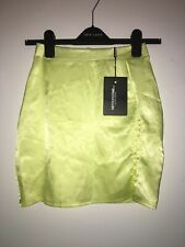 Prettylittlething Lime Satin High Waisted Slit Mini Skirt Size 6