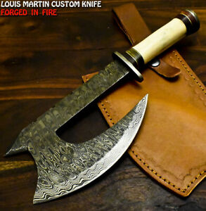 Louis Martin Handmade Damascus Steel Camel Bone Hunting Clever Chopper Axe Knife