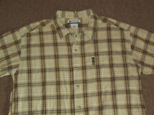 Columbia Mens Brown White Beige Plaid 100% Cotton Button Down Front Shirt Large
