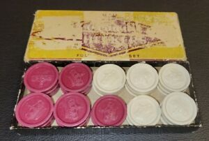 Vintage Crown Plastic Checkers with Box IVORY & MAROON 28/30