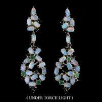 Unheated Oval Fire Opal 5x3mm Emerald Black Spinel 925 Sterling Silver Earrings