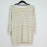 Amina Rubinacci Napoli Womens Linen Blend Sweater Size 46 Large 12 Creme Striped