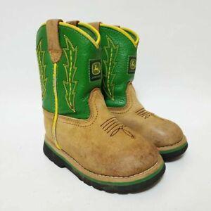 John Deere Kids Boys 7 Toddler Johnny Popper Western Cowboy Boots Brown Green