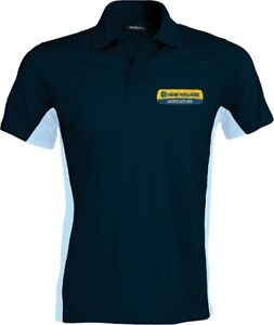 New Holland Tractor Contrast Polo Shirt - Embroidered - Small to XXL