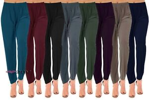 Womens Straight Leg Summer Trousers Tapered Stretch Casual Elasticated Palazzos.