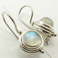 "925 Sterling Silver Rainbow Moonstone Drop Dangle Earrings 0.9"" Gemstone Gift"