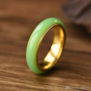 Gold Titanium Jade Ring Band Wedding Band Womens Mens Unisex 6-13