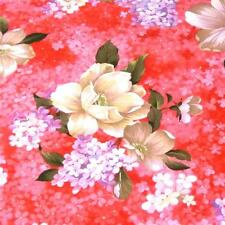 Gardenia Floral Coral, Periwinkle, Ivory & Olive, FabriQuilt Cotton Fabric BTY