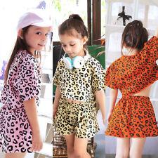 2pcs Newborn Toddler Baby Girls Leopard Outfits T-shirt Tops+Shorts Clothes Set