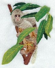 Large Embroidered Zippered Tote - Capuchin Monkey M1908