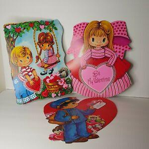 Lot of 3 Vtg Bright Valentine Cardboard Decoration Be My Valentine Swing Mailman