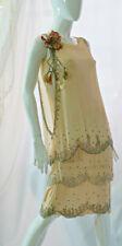 Antique vtg 20s beaded silk dress with gold metallic flower Art Deco, S