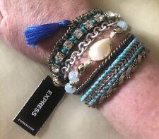 Express Boho Blue Multi Strand Bracelet with Rhinestones and Tassel #516