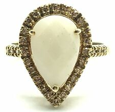 Sterling Silver 925 Gold Tone White Onyx Diamond Halo Pave Band Cocktail Ring