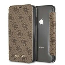 Genuine GUESS 4G Collection Book Case for iPhone XS Max in Brown