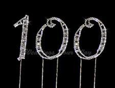 100th Birthday  Rhinestone Crystal Cake Topper Number 7cm Silver Diamante