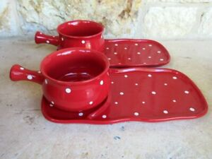 Temp-tations Ovenware by Tara Set of 2 Soup/Sandwich Plates Red/White Polka Dots
