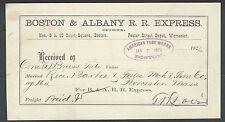 1876 Boston Ma Boston & Albany R R Express Shipping Receipt 4.5 x 8 See Info