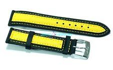 Cinturino per olorogio in tessuto cordura imbottito 16mm nero giallo tipo sector