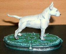 "PEWTER HAND PAINTED  MINIATURE FIGURINE OF ""BULL TERRIER ON A RUG"" DOG"