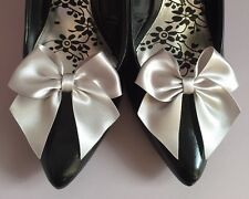 Silver Shoe Clips 4 Shoes Satin Ribbon Bows  Vintage Pinup Retro Burlesque Pinup