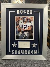 Roger Staubach Signed Cut Jsa Auto Custom Framed Dallas Cowboys