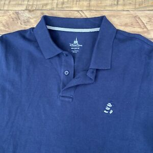 New! Disney Parks Men Large Relaxed Fit Polo Shirt Mickey Mouse Logo Color: NAVY