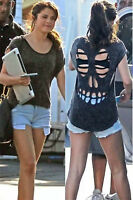 WOMENS LADIES SLEEVELESS LASER CUT OUT BACK SKULL VEST T SHIRT LOOSE FIT TOP