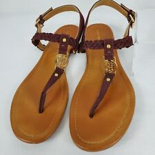 Tommy Hilfiger Slingback Thong Sandals Braided Leather Gold Hardware Size 9.5 M