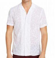 INC Mens Shirt White Medium M Dion Flocked Floral Sheer Button Down $49- #319