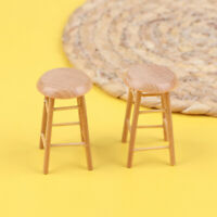 Dollhouse Miniature Stool 1/12 Simulation Mini Wooden Chair Furniture Model T Pg